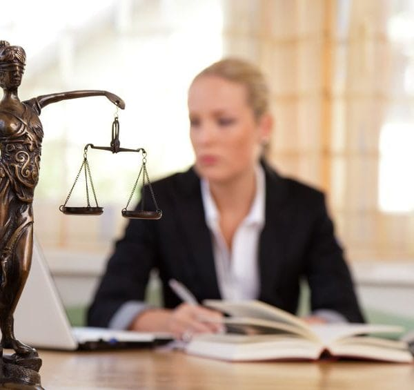14587275 - a young lawyer is sitting at her desk in the office